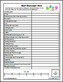 math worksheet : math scavenger hunt  karynu0027s blog : Math Scavenger Hunt Worksheet